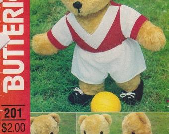 Bear Pattern 17 inch Plush Stuffed Sports Wardrobe Clothes Uncut  Butterick 201 Teddy