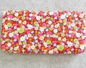 Fabric Checkbook Cover - Red Flowered
