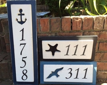 House Number Address Sign Beach Lake House Nautical by CastawaysHall - 5 Numbers Digits