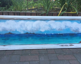 Original Sander Painting - FAR AND AWAY - Beach House Art Wall Decor Door Panel Painting by CastawaysHall  - Ready to Ship