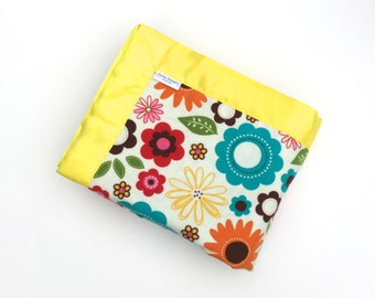 Flower Flannel Blanket - Aqua - Baby Blanket