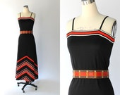 RESERVED // SALE // 1980s Chevron Striped Maxi Dress // Vintage Black & Red Jersey Dress // XS - Small