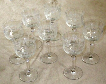 set eight etched Wine glasses