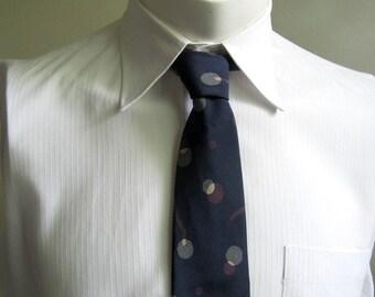 Vintage 1980s Necktie Lanvin  Navy Blue Connect the Dots Silk Mens Necktie Cravatte
