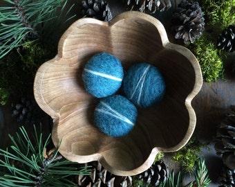 Wool river rocks, set of 3, Teal Heather, teal felt pebbles, teal felt bowl filler, waldorf child gift, teal home decor, gifts under 20