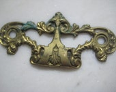 "Vintage Escutcheon, Ornate Victorian Style Cast Brass Backplate, Drawer Furniture Restoration or Replacement Hardware, 4 x 1 7/8"", 1 pc."