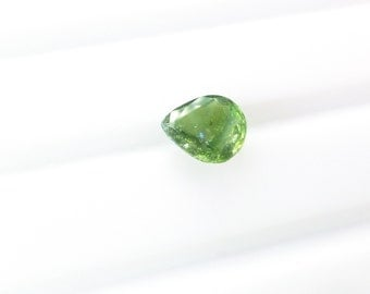Natural Pear Shape Green Tourmaline. No Treatments. Native Cut. Set Table Down For Rose Cut. 1 pc. 0.81 cts. 6x7x2.5 mm  (TM2290)