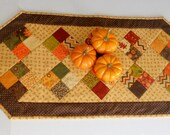 Fall Autumn Quilted Table Runner, Handmade Quilted Table Topper, Thanksgiving Runner, Patchwork Runner, Gold Brown Rust, Hello Fall by Moda