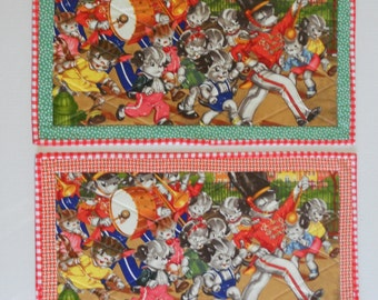 Sale Quilted Placemats, Fabric Placemats, Puppies, Kitties, Parade, Birthday Celebration, Set of Two