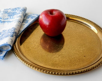 Vintage Round Brass Serving Tray with Etched Design. Den, Study or Library Decor. Table Accent. Bedroom Dresser or Vanity Tray. Home Decor.