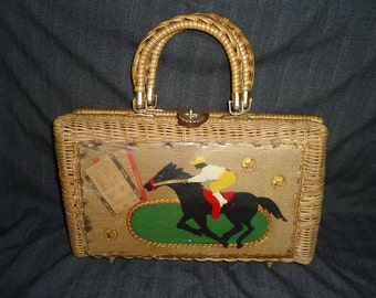 Large Wicker Woven HORSE RACING Vintage 1960's Women's Handbag Purse