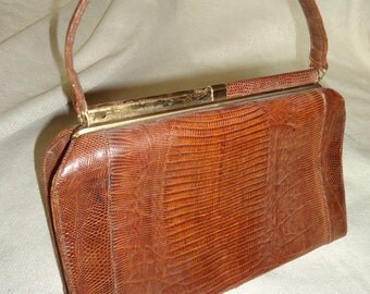 STUNNING Lizard Reptile Vintage 1950's Women's Sterling Designer Handbag Purse