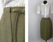Vintage 60's Skirt Wool in Heathered Olive Green and Brown Straight Pencil  Size XS / Extra Small / X Small