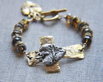 Cross Bracelet,  Heart Bracelet, Sympathy Bracelet, Religious Bracelet, Boho Bracelet, Bohemian Bracelet, Shabby Chic Bracelet, Amulet