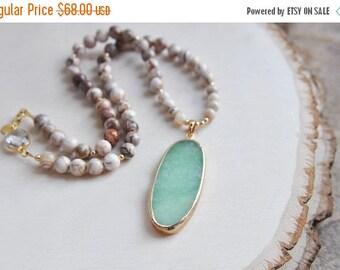 SALE Green Aventurine, Aventurine Necklace, Aventurine Jewelry, Aventurine Stone Necklace, Agate Necklace, Boho Necklace, Neutral Necklace,