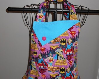 Wonder Woman, Bat Girl, Super Girl Women's Apron
