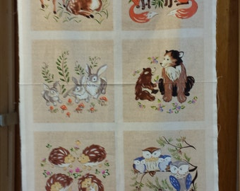 Red Rooster Forest Frolic Panel Deer Fox Bunny Rabbig Hedgehog, Bear, Owl Free Shipping 1/2 Yard Cotton Fabric