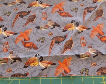 Pheasant, Goose,  Birdwatcher, Binocular, Map Cotton Fabric 1/2 Yard Free Shipping 5671