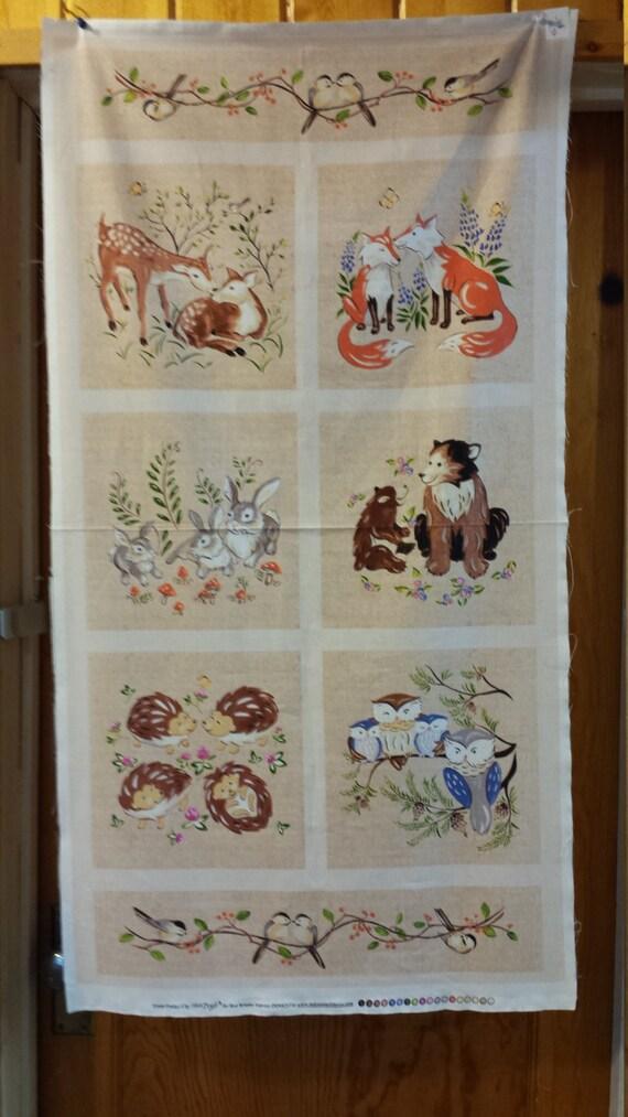 red rooster forest frolic panel deer fox bunny rabbig. Black Bedroom Furniture Sets. Home Design Ideas