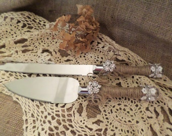 Rustic Wedding Cake Server Set