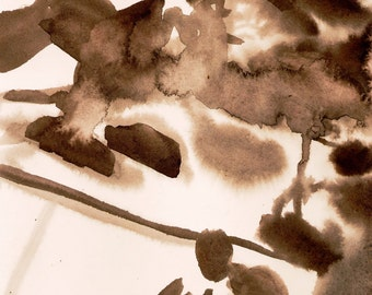 "Transitory Pedagogy, 7 x 10.25"", original watercolor on paper"