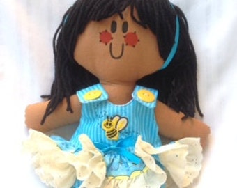 Lilliegiggles Brown Baby Rag Doll named Busy Bee handmade cloth doll