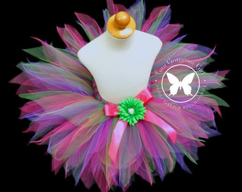 Girls Woodland Fairy Tutu...Purple Hot Pink and Green Fairy Tutu...Baby, Toddler, Girls Sizes . . . WOODLAND FAIRY