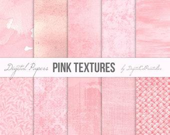 Pink digital papers Textured digital paper Pink backgrounds pink textures Textured paper Pink watercolor digital paper