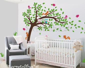 Wall Decals Nursery - Nursery wall decal - Tree Wall Decal - Tree and owls - Windy Tree Decal -  Baby Tree Decal -Owls - Tree