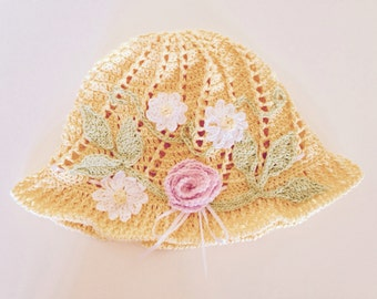 Yellow Summer Hat, Yellow Sunhat With Flowers, Flower Sunhat, Yellow Floral Sunhat, Yellow Hat