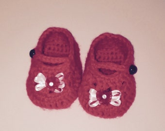 Red Mary Jane Baby Slippers, Red Baby Shoes, Red Baby Booties, Mary Jane Baby Shoes, Valentine Baby Shoes