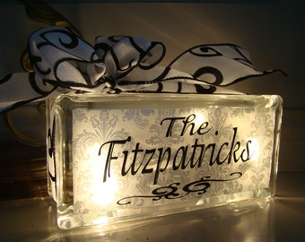 Customized Personalized Glass Block Night Light with Vinyl Lettering