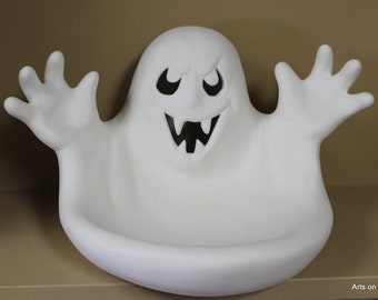 Ceramic Ghost Candy Dish, ready to paint