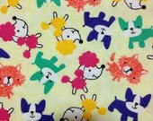 Pop of Color Pups Cotton Flannel/Sewing Craft Supplies/Home Decor/ Quilting/Winter Cotton Prints