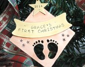 Baby's First Christmas Ornament - Personalized Dated 2016 - Keepsake Ornament - New Baby - New Mom