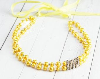 Yellow Pearl Headband - Crystal Headband - Beaded Headband - Rhinestone Headband - Tie Headband - Modern Headband