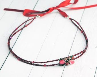 Red Rhinestone Beaded Headband - Valentines Day Headband - Tie Headband - Simple Rhinestone Hair Piece - Bridesmaid Headband