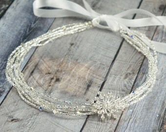 Silver Bridal Headband - Silver Wedding Headband - Swarovski Bridal Headband - Tie Headband - Rhinestone Head Piece - Hair Jewelry