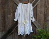 reconstructed recycled upcycled cotton sweater jacket with  vintage crochet lace ready to ship