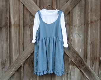 linen jumper pinafore apron dress tunic in blue ready to ship