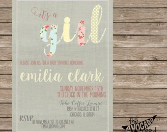 Country Chic Baby Shower Baby Girl or any event - DIY Printing or Professional Prints