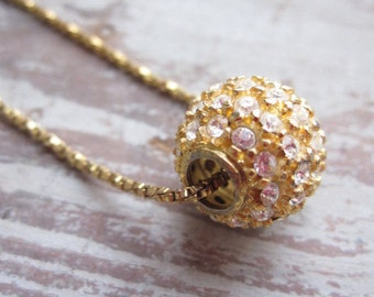 Sterling and Rhinestone Ball Charm Necklace