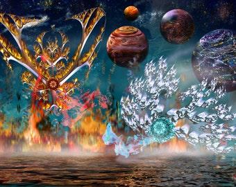 Ice Vs. Fire - Digital Painting Print - Art by Masha Falkov