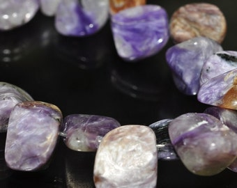 """Listed @ 50% Off Sale Was 7.75---4"""" Strand 6~11x5mm Natural PURPLE CHAROITE Small Nugget Pebble Chips Slice Beads - A0934"""