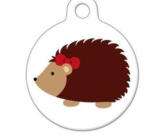 Pet ID Tag - Girly Hedgehog Pet Tag, Dog Tag, Cat Tag