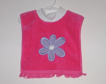 Large Baby Bib, Flower, Pullover Bib, Towel Bib, Matching Baby Items, 12 Colors, Terrycloth Velour, Baby Shower Gift