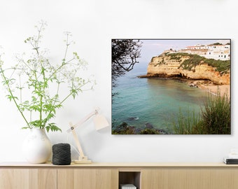Portugal Photography - Algarve Beach Print - Turquoise Sea - Mediterranean Decor - Summer - Cliff Photo - Seascape - Portuguese Art