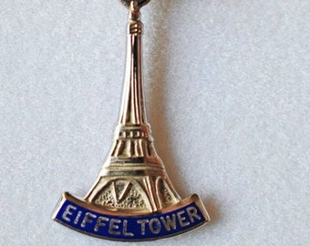 Sterling Silver Eiffel Tower Charm with blue enamel, says eiffel tower collectible vintage Parisian charm