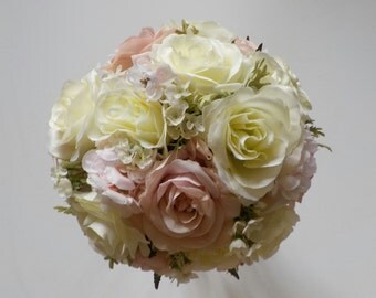 Blush Pink and Cream Bridal Bouquet, Pink and White Wedding Flowers, Blush Rose Bouquet, Wedding Floral Package