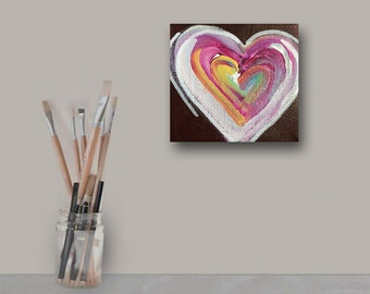 "4""x4""x1.5"" Original Abstract Heart Painting - Contemporary Wall Art Decor - heart - valentines day - love - heart -colorful"